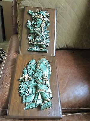Pair Aztec El Arte Azteca Crushed Malachite Wall Plaques