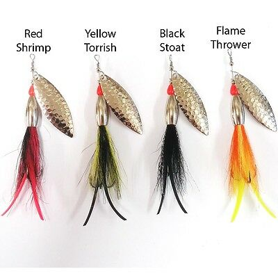 Flying C Bullet Head Bucktail & Latex Tail , Nickel 4 Colours, Salmon Sea Trout.