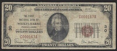 1929 $20 National Currency First National Bank Wilkes-Barre, PA Low Charter #30