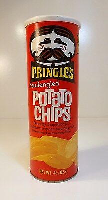 Vintage Original 1970's Newfangled Pringle's Can Container w/ Corrugated Insert