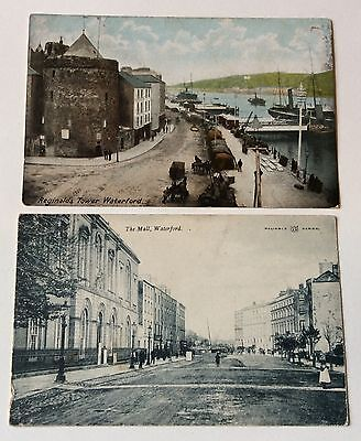 2 Early Postcards Waterford Reginald's Tower & The Mail Ireland