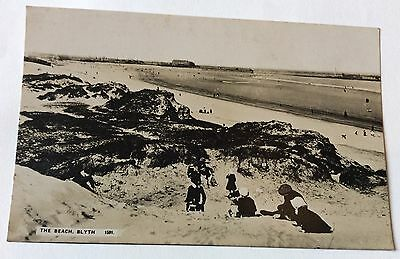 Early Real Photo Postcard The Beach Blyth No.1591