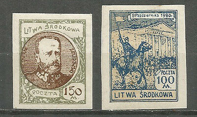 Central Lithuania 1922  mint stamps MH(*) imperf. set