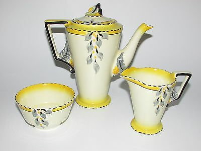 Art Deco Burleigh Ware Zenith Shape Bouquet/ Sunshine Pattern Coffee Set. c1930s