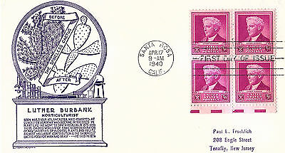 Luther Burbank - 876 Fdc - Anderson Cachet - 1940