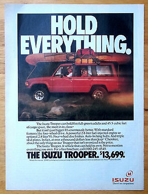1991 Red Isuzu Trooper SUV Camping Trip Canoe Backpacks Magazine Print Ad
