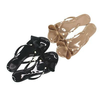 Womens Ladies Toe Bow Jelly Summer Flat Flip Flop Beach Pearl Sandals Size Gift