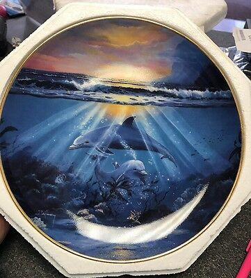"""Franklin Mint Plate """"dance Of The Dolphin"""" Ltd Edition 🐬"""