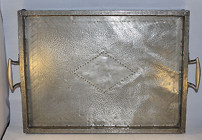 """Antique Pewter Clad Tray with Embossed Diamond Design Brass Handles 16"""" x 12"""""""