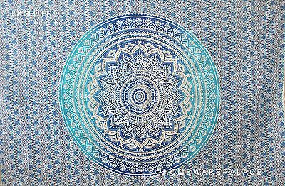 Indian Ombre Mandala Tapestry Wall Hanging Mandala Hippie Bedspread Blue Single