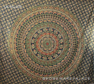 Indian Elephant Mandala Tapestry Wall Hanging Hippie Bedspread Green Double