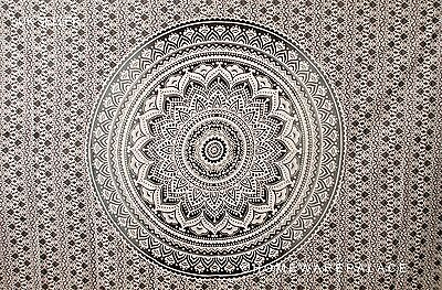 Indian Ombre Mandala Tapestry Wall Hanging Mandala Hippie Bedspread Black Single