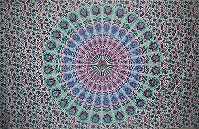 Indian Peacock Mandala Tapestry Wall Hanging Hippy Bedspread-Pink-Blue-Turquoise