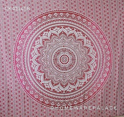 Indian Ombre Mandala Tapestry Wall Hanging Mandala Hippie Bedspread Red / Pink