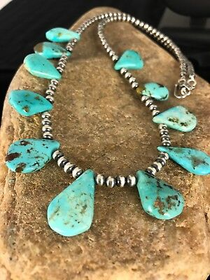 Native American Navajo Pearls Sterling Silver Blue Turquoise Necklace