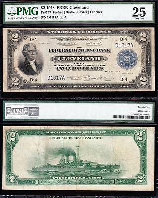 VERY NICE RARE Low Serial Bold & Crisp VF 1918 $2 BATTLESHIP Note! PMG 25! D1317