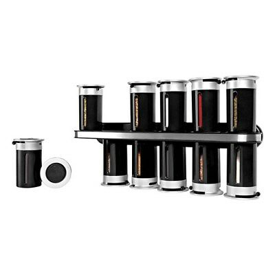 New Zevro Zero Gravity Wall-Mount Magnetic Spice Rack Black