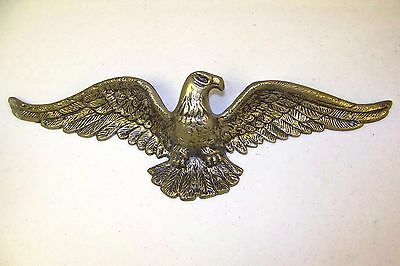 """Vtg American Bald Eagle Brass Wall Hanging Plaque 19"""" Wing Span"""