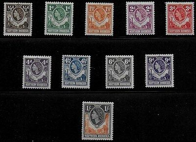 Northern Rhodesia 1953 QEII Definitives - SS to 1/- - MVLH