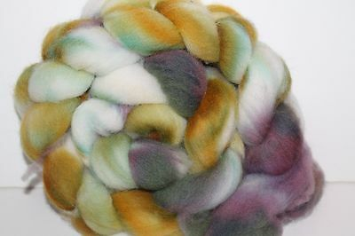 Kettle Dyed Falkland Wool top.  Easy to Spin Roving. 4oz Braid. Spin/Felt. F61