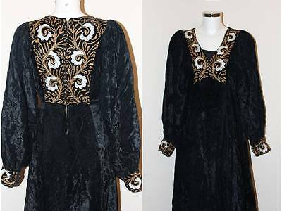 True Vintage 1970s Ayesha Davar Black Velvet Woodstock Kaftan Maxi Dress
