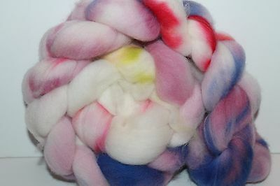 Kettle Dyed Falkland Wool top.  Easy to Spin Roving. 4oz Braid. Spin/Felt. F2