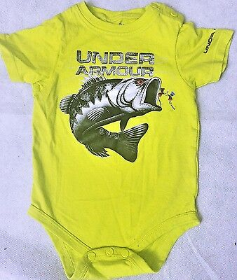 NICE UNDER ARMOUR Infant Boys short sleeve fish top onsie shirt baby  3/6 Months