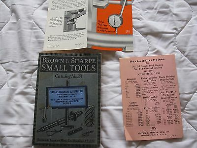 BROWN & SHARPE SMALL TOOLS CATALOG NO. 33 Illustrated Brown & Sharpe c. 1938
