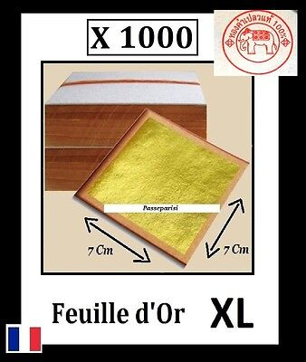 1000 feuilles d' or XL 7 Cm 24 K Carats Veritable / Gold Sheets Paper