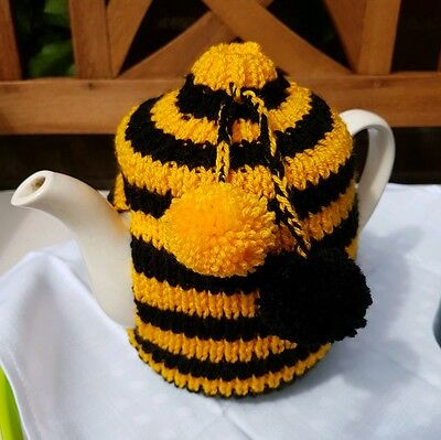 Hand Knitted Hull City Football Bumble Bee Striped Tea Cosy with Pom Poms