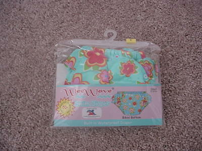 New Wee Wave Swim Diaper Size 13-18 Lbs Blue Flowers