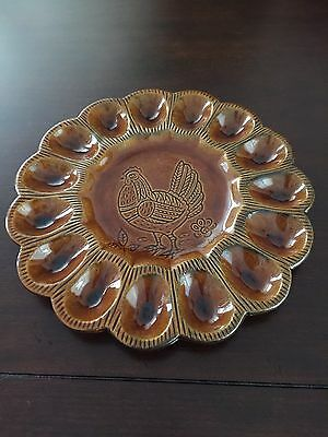 Vintage California Pottery 529 Deviled Egg Plate / Platter Brown Beautiful!
