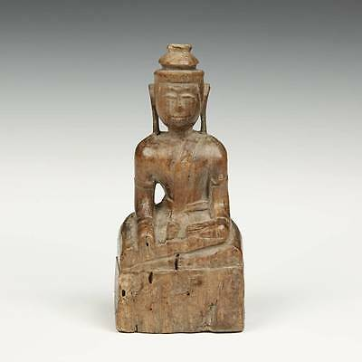 Antique Seated Niche Buddha Carved Wood Burma Southeast Asia Buddhism 19Th C.
