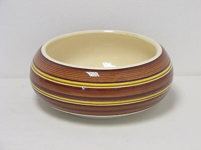 Dragon Pottery Rhayader Wales Large Brown and Yellow Striped Bowl