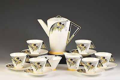 Shelley ART DECO YELLOW BUTTERFLY WING MODE COFFEE SET C.1930