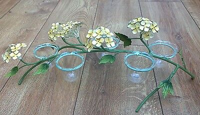 Metal Tealight Candle Holder Pale Yellow Hydrangeas Decorative Vintage Style