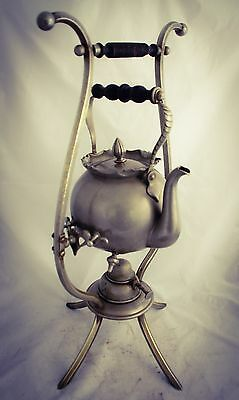 Antique Copper Pewter Spirit Coffee Tea water Kettle on Stand Samovar RARE