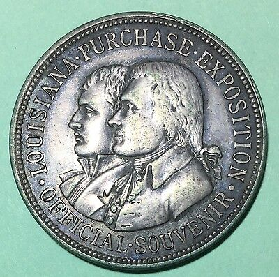 1904 Lousiana Purchase Expo Official Silver Medal - So-Called Dollar