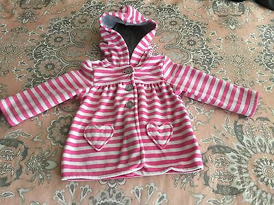 Carters Girl Size 12 Months Pink And White Hooded Fleece Jacket