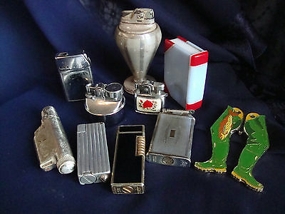 Vintage Cigarettte Lighters; 'Sim Luxe', 'Penguin', 'Benlow Gomlet', 'Cosmic'
