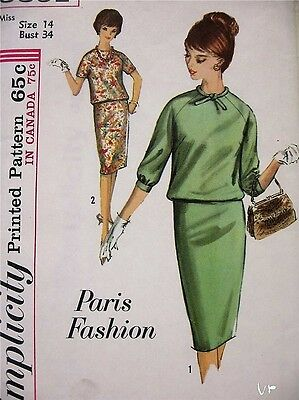 ❤️Uncut 1960s Vintage Simplicity 5391 French Dress Misses Sewing Pattern Size 14