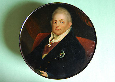 Extra Large Stobwasser Lacquer Snuff Box Miniature Portrait Of King William Iv