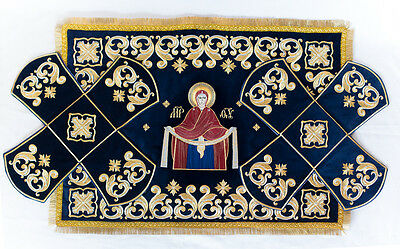 Chalice Covers  veils  Embroidered dark Blue color ,with Icon Of Mother Of God,