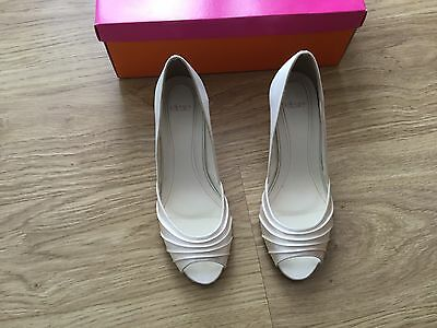Ivory Satin Open Toe Low Heel Bridal Courts, Shiraz by Else size 5