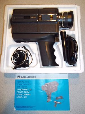 """Vintage Bell & Howell Filmosonic XL 1235 w/ Microphone, Cord & Wire """"Camcorder"""""""