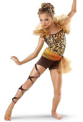 Dance Costume Medium Child Cheetah Jungle Unitard Solo Competition Pageant Glitz