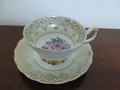 Imperial Bone China Tea Cup Saucer  Mint Green w/Rose 22 KT Gold England  #701