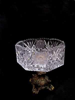 Victorian Centerpiece Crystal Hollywood Regency Compote Cut Etched Octagon Bowl