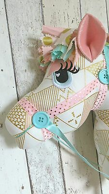 Childrens Hobby Horse - Pink Mint Green & Gold Triangles - Whimsical - Ce Mark