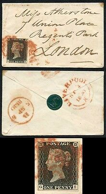 Penny Black (GI) Plate 3 Fine 4 Margins Tiny Envelope Contrary to Regulations